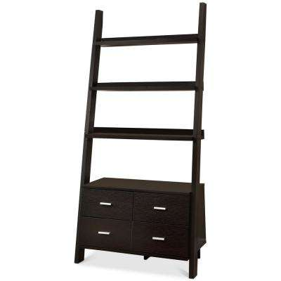 Colella Leaning 4-Drawer Ladder Bookcase Cappuccino