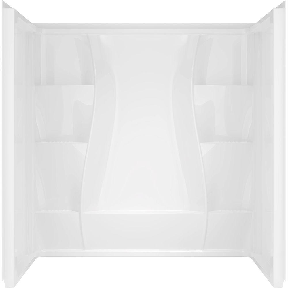 Delta Classic 400 32 in. x 60 in. x 74 in. 3-Piece Direct-to-Stud Shower Surround in White