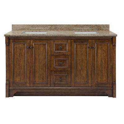 Creedmoor 61 in. W x 22 in. D Double Bath Vanity in Walnut with Granite Vanity Top in Giallo Ornamental