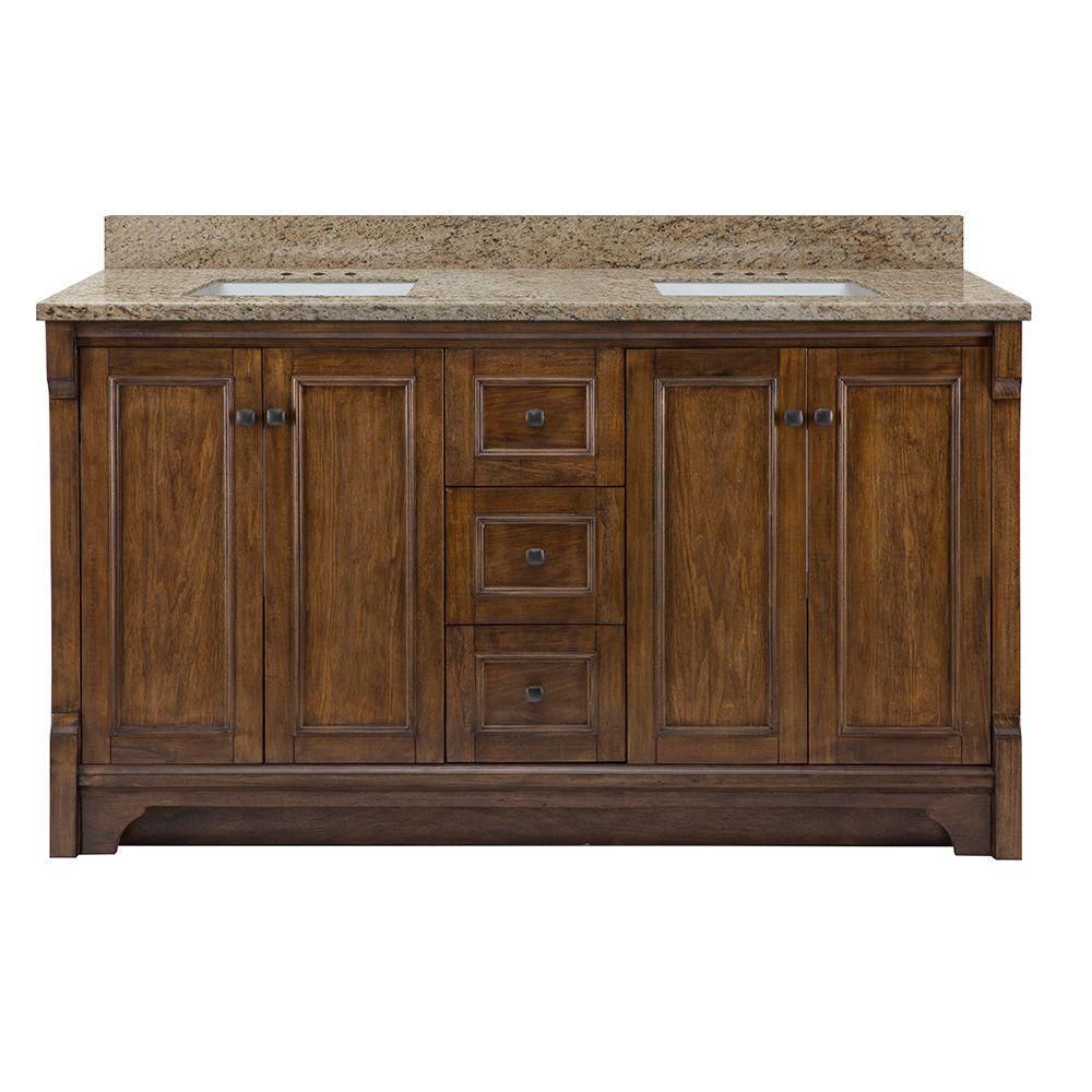 Creedmoor 61 in. W x 22 in. D Double Bath Vanity in Walnut with Granite Vanity Top in Giallo Ornamental