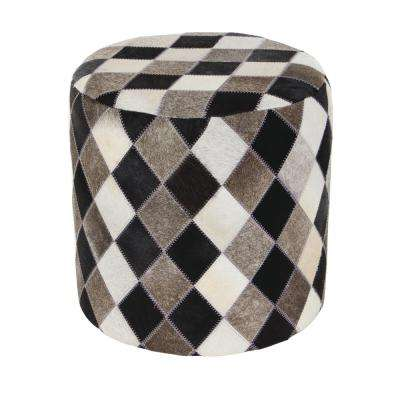 16 in. x 16 in. Leather and Wood Round Stool with Black, Gray and White Square Checkered Patterns