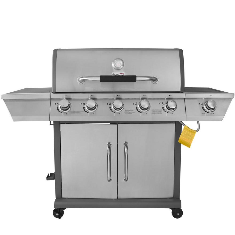 Royal Gourmet Deluxe 5-Burner Patio Propane Gas Grill with Side Burner
