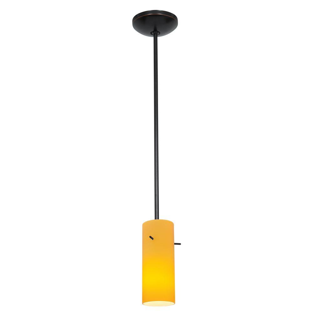 Access Lighting Cylinder 1-Light Oil-Rubbed Bronze Metal Pendant with Amber Glass Shade