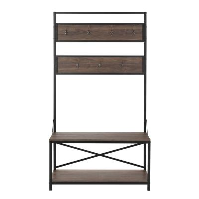 StyleWell Dark Oak Finish Wood Hall Tree with Hooks and Bench (40 in. W x 72 in. H)
