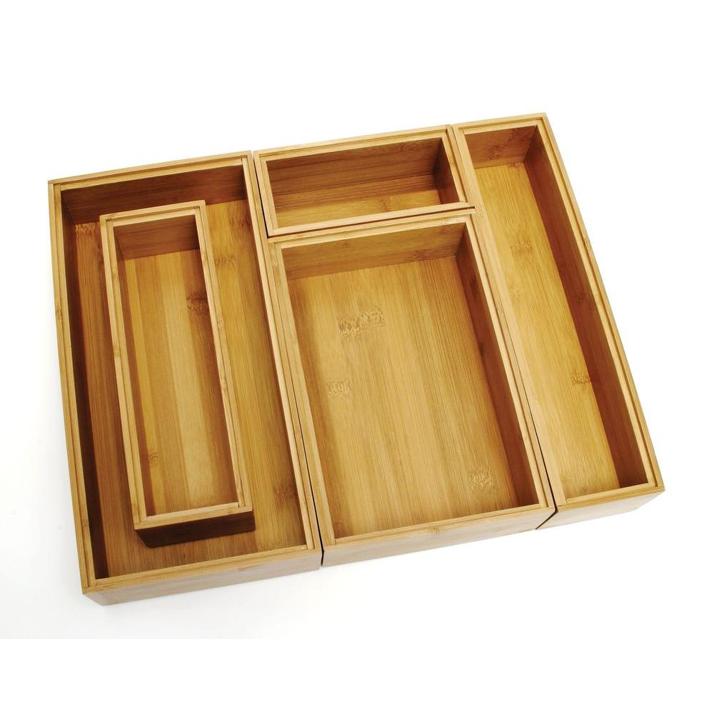 Lipper International Bamboo Organizer Set 5 Piece