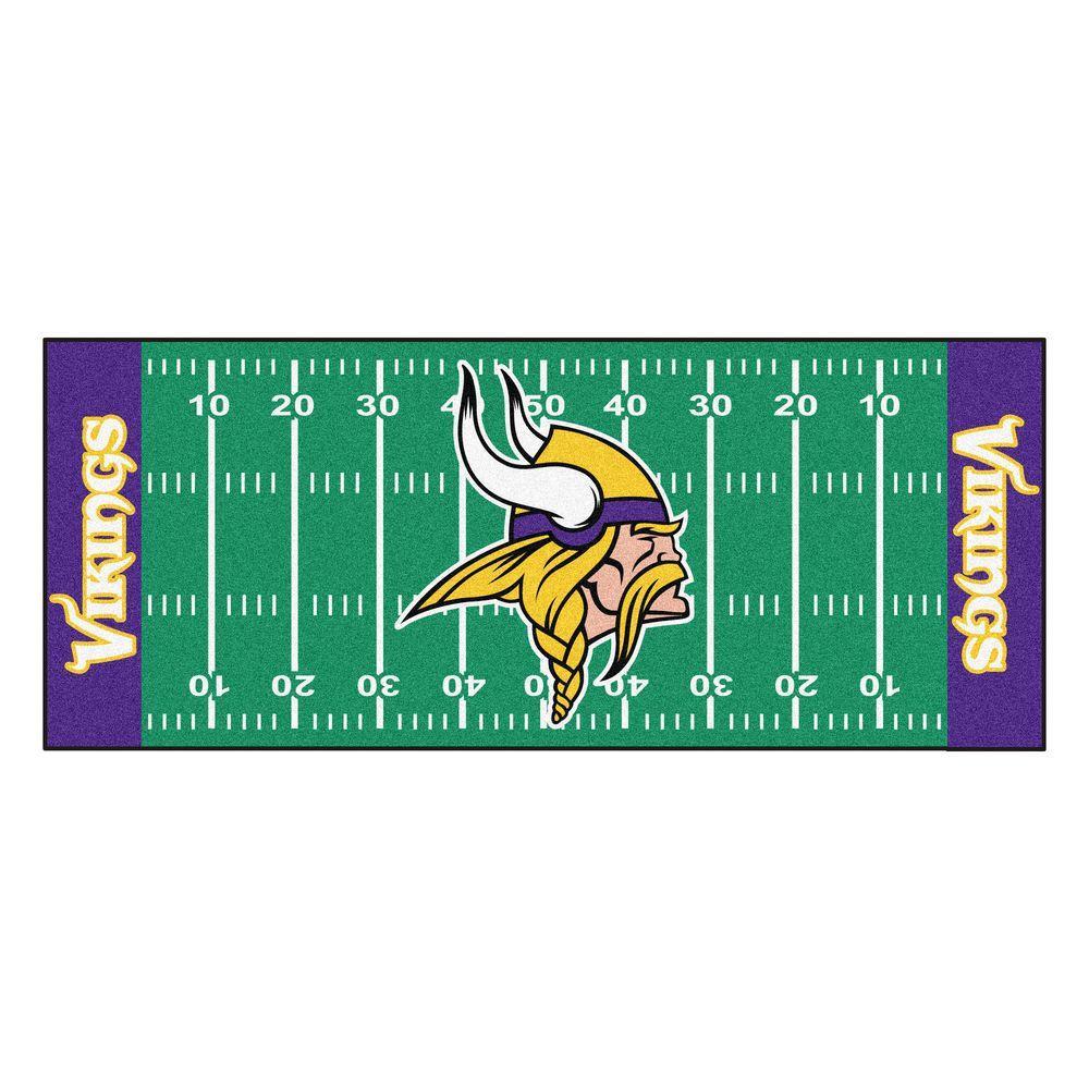 Minnesota Vikings 3 ft. x 6 ft. Football Field Runner Rug