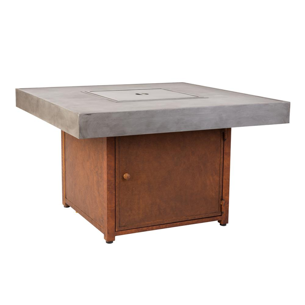 Fire Sense Romada 40 in. x 24 in. Square Aluminum LPG Fire Pit Table in Faux Rust and Concrete
