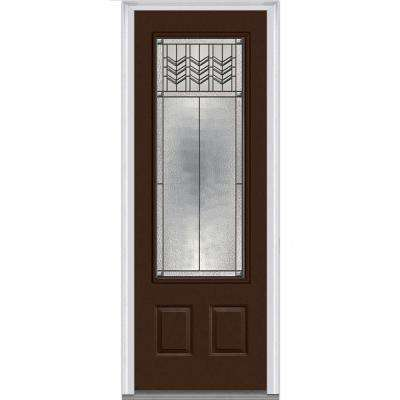 36 in. x 96 in. Prairie Bevel Right-Hand 3/4-Lite Decorative 2-Panel Painted Fiberglass Smooth Prehung Front Door