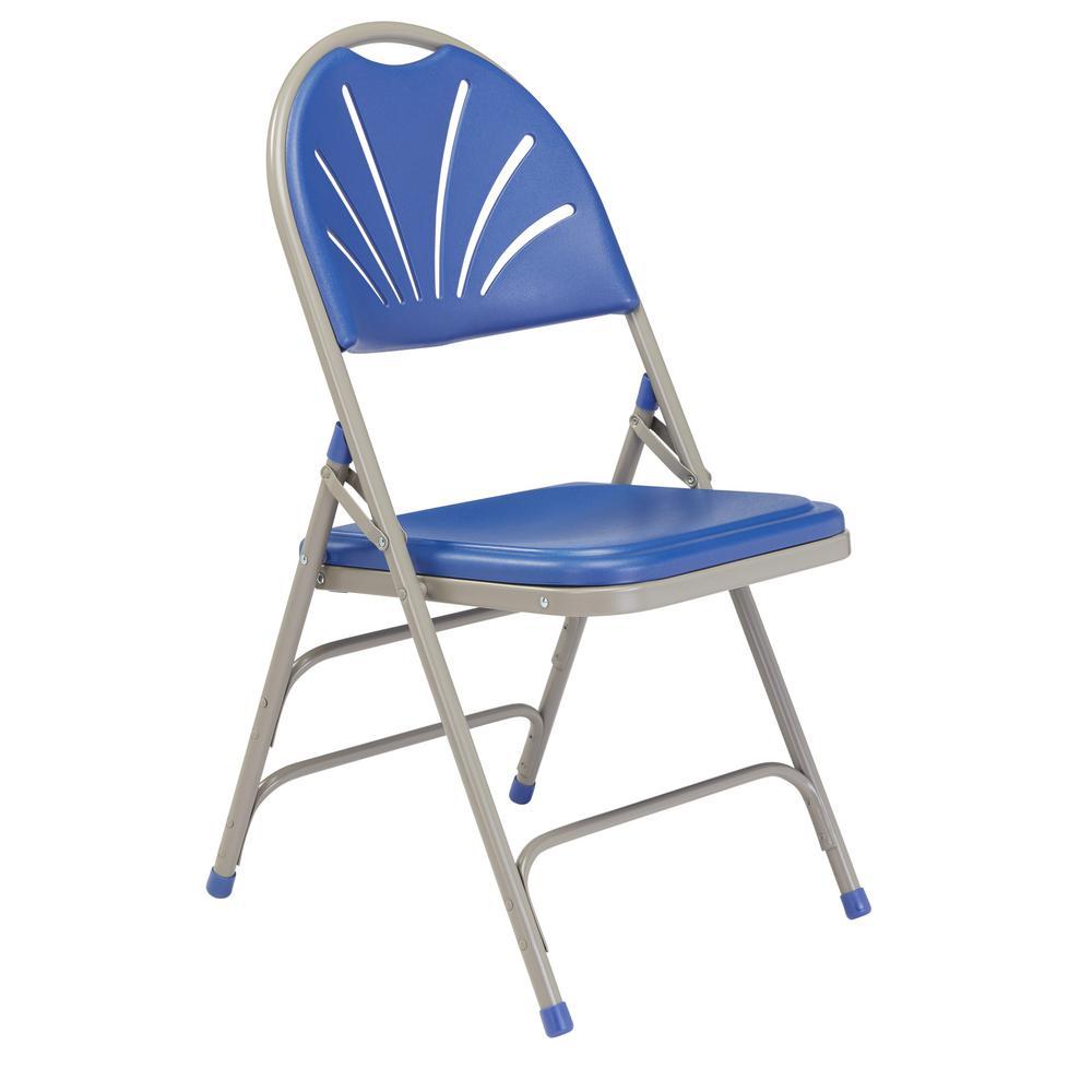 NPS 1100 Series Polyfold Blue Fan Back Folding Chair (Pack of 4)