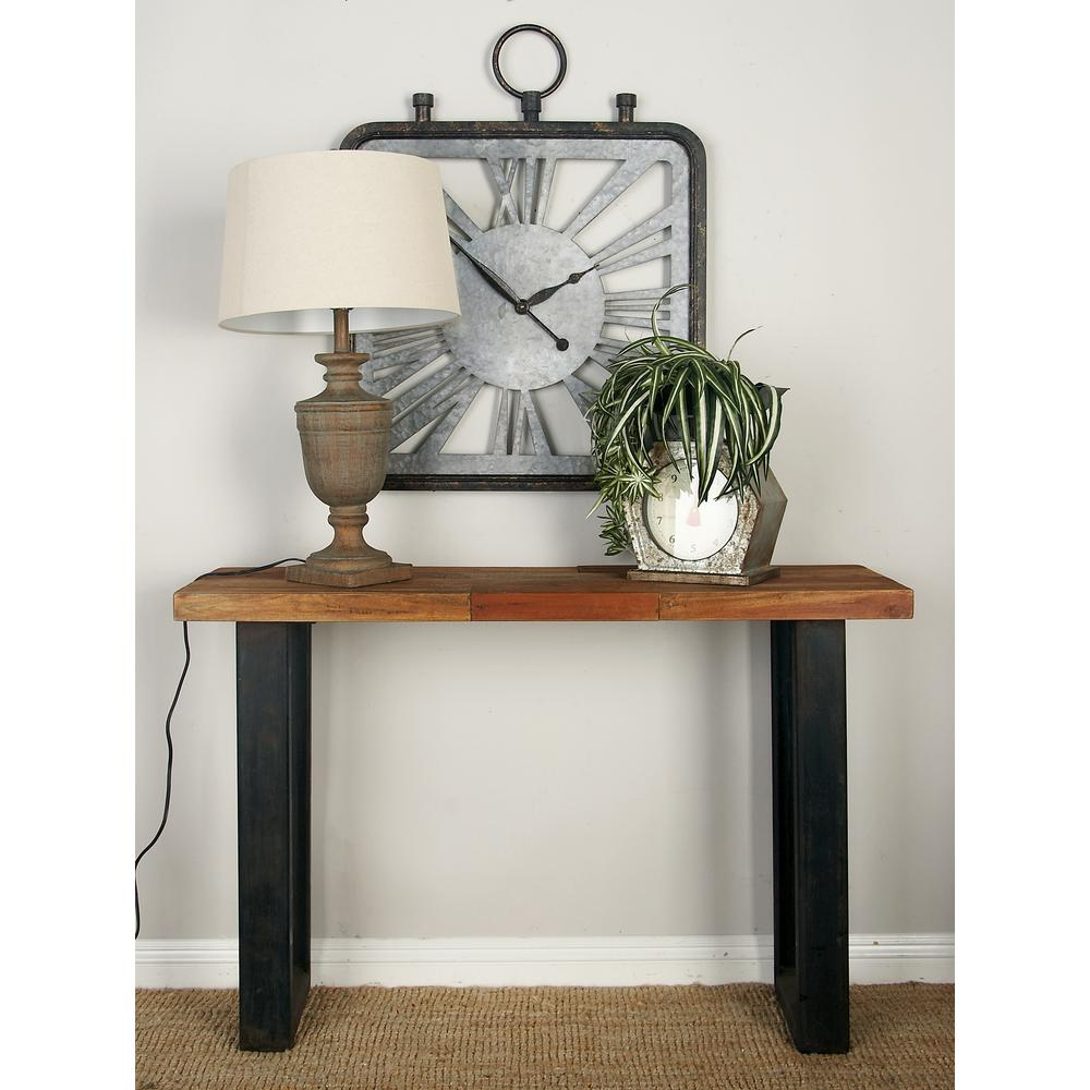 Null Natural Brown Rectangular Organic Wood And Metal Console Table