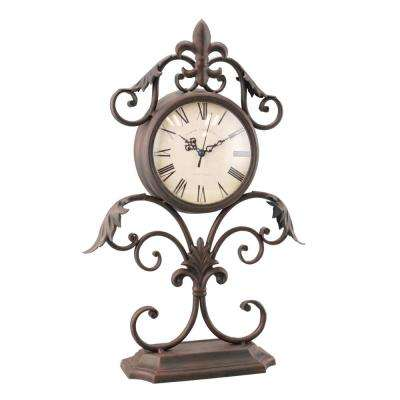 Weathered Rust Fleur De Lis Scrolled Clock