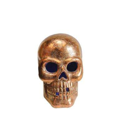 14 in. LED Copper Metallic Day of the Dead Skull