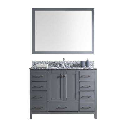 Caroline Madison 48 in. Vanity in Grey with Granite Vanity Top in Arctic White with White Round Basin and Mirror