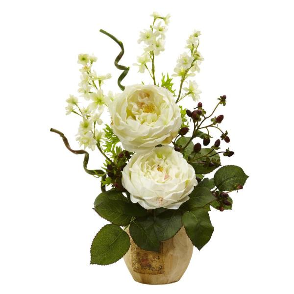 17 in. Large Rose and Dancing Daisy in Wooden Pot in White