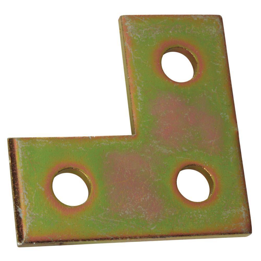 3-Hole Flat Right Angle Bracket - Gold Galvanized (Case of 10)