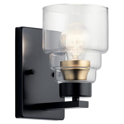 Vionnet 1-Light Black Wall Sconce with Clear Glass Shade