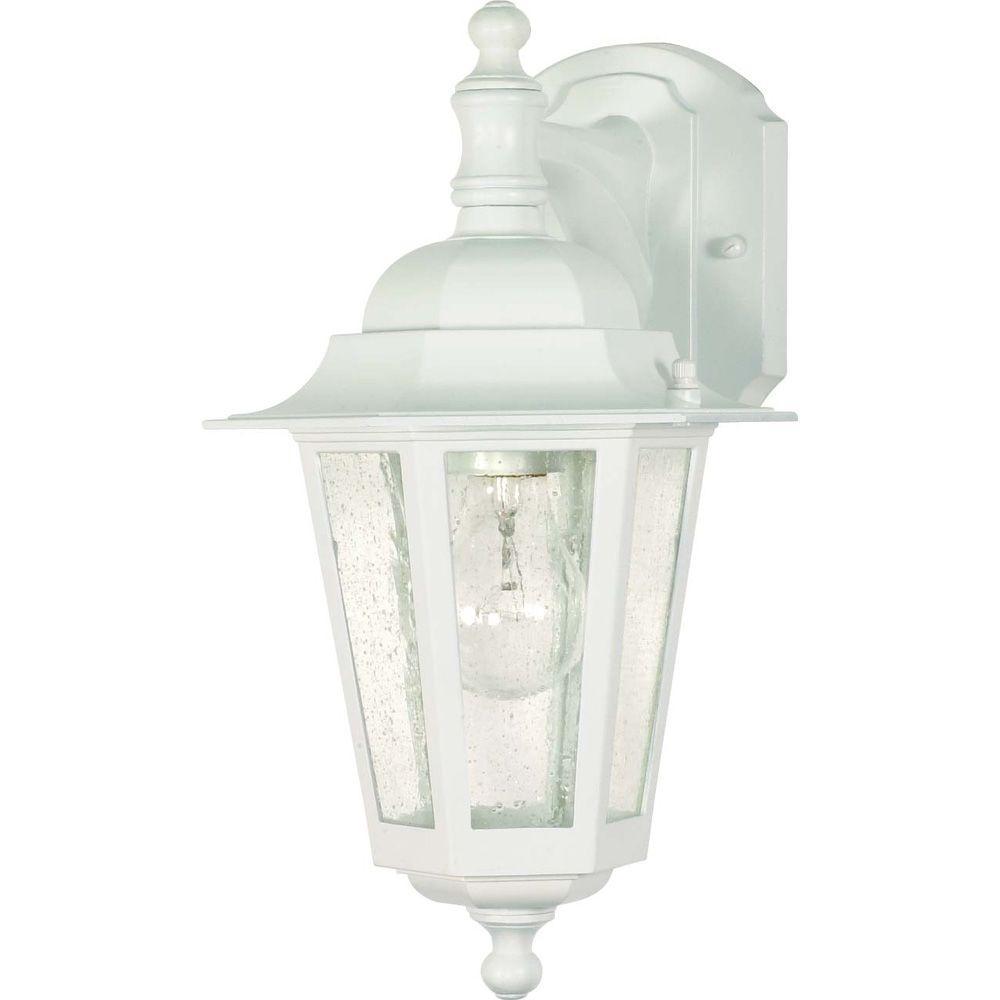 1-Light Outdoor White Incandescent Sconce Light