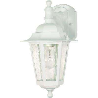 1-Light Outdoor White Incandescent Sconce Light