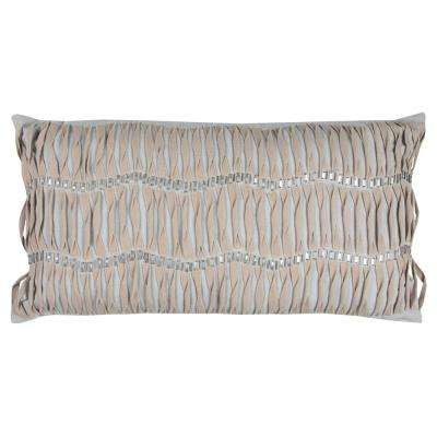 Vertical Deconstructed Stripe 14 in. x 26 in. Light Gray Decorative Filled Pillow