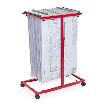 Blueprint Steel Vertical Plan Center, Red