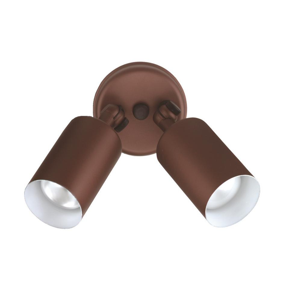 Double Bullet 50-Watt 2-Light Bronze Outdoor Wall Mount Cylinder Light