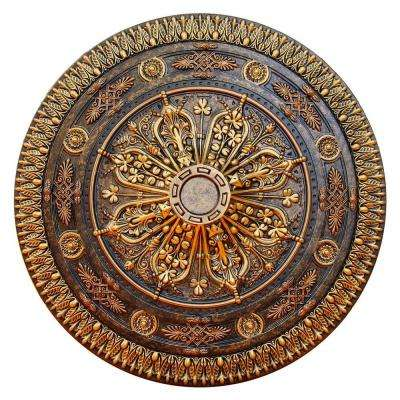 37-1/2 in. Arabic Caprice, Bronze and Gold, Polyurethane Hand Painted Ceiling Medallion