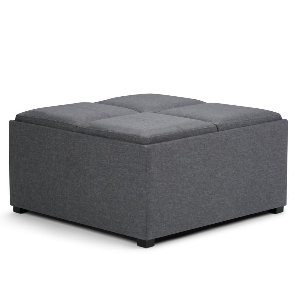 Simpli Home Avalon 35 in. Contemporary Square Storage Ottoman in Slate