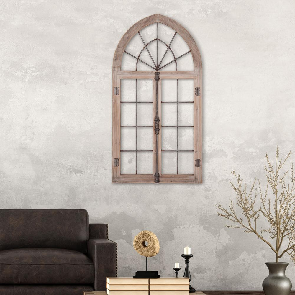 Pinnacle Arched Cathedral Window Frame Wooden Wall Art