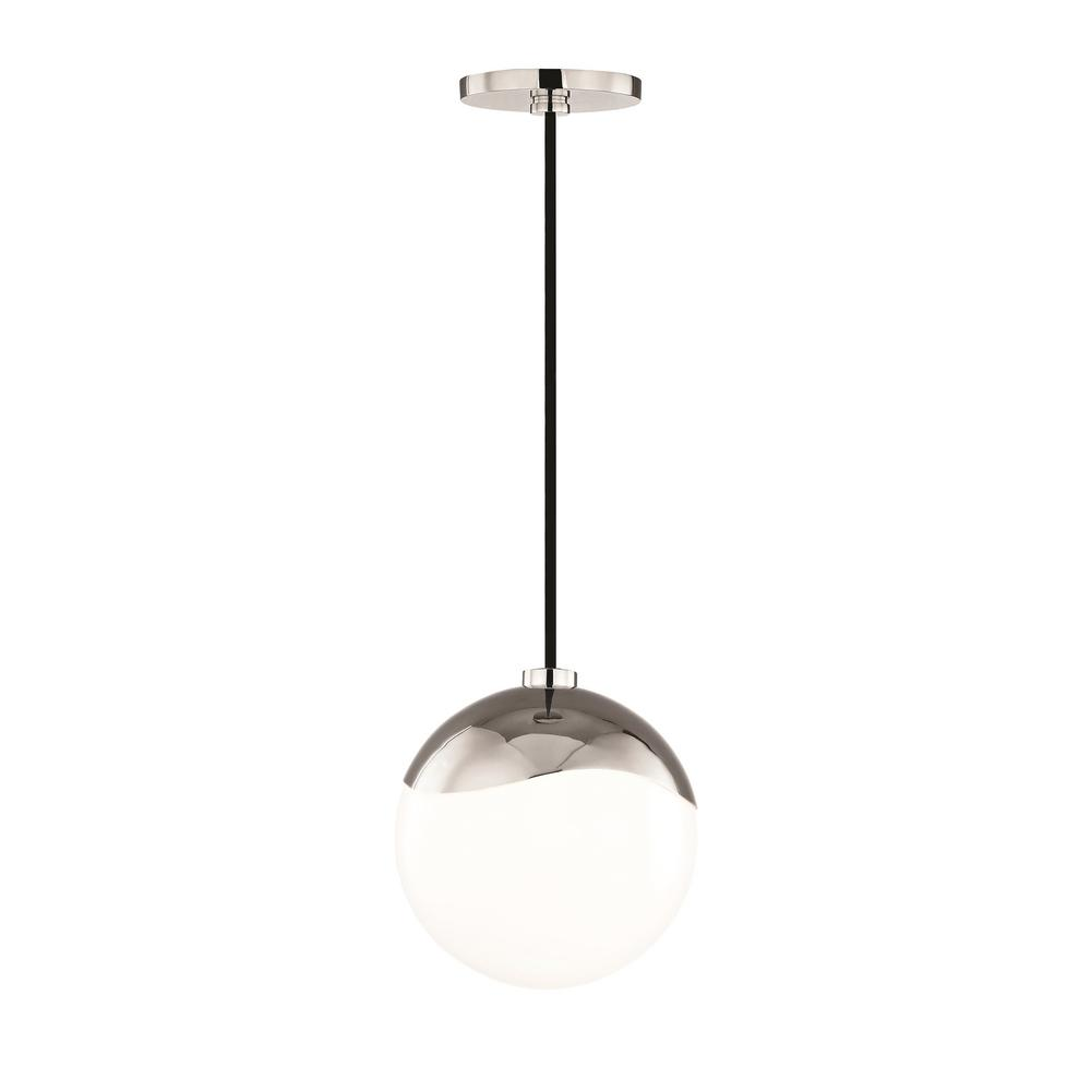 Ella 1-Light Polished Nickel Small Pendant with Opal Glossy Glass