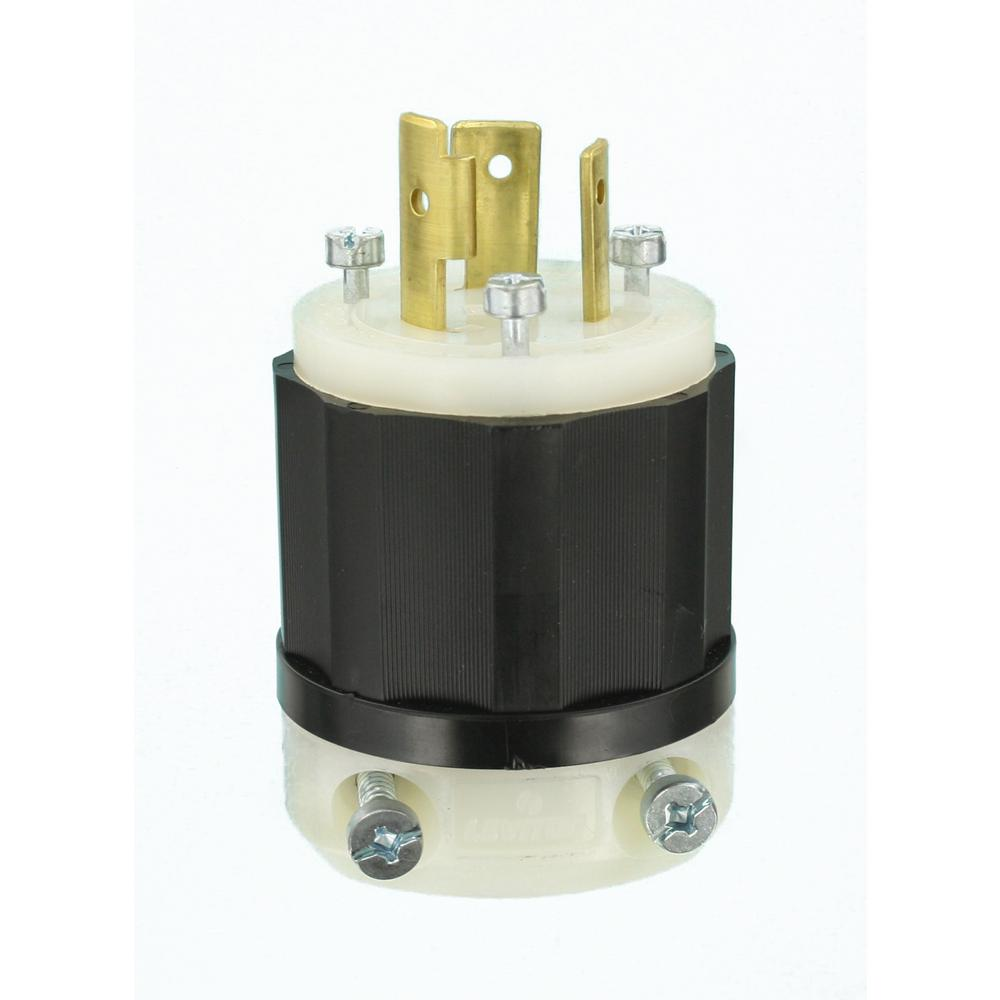 Leviton 20-Amp Industrial Grade Locking Plug In Black/White