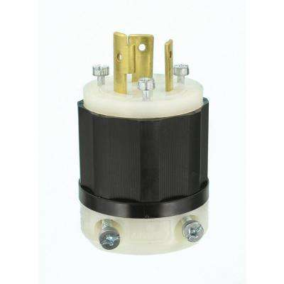 20 Amp Industrial Grade Locking Plug, Black/White