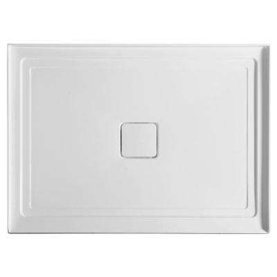 Fissure Series 48 in. x 36 in. Single Threshold Shower Base in White