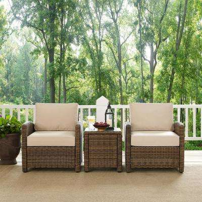 Bradenton 3-Piece Wicker Outdoor Conversation Set with Sand Cushions - 2 Arm Chairs and Side Table