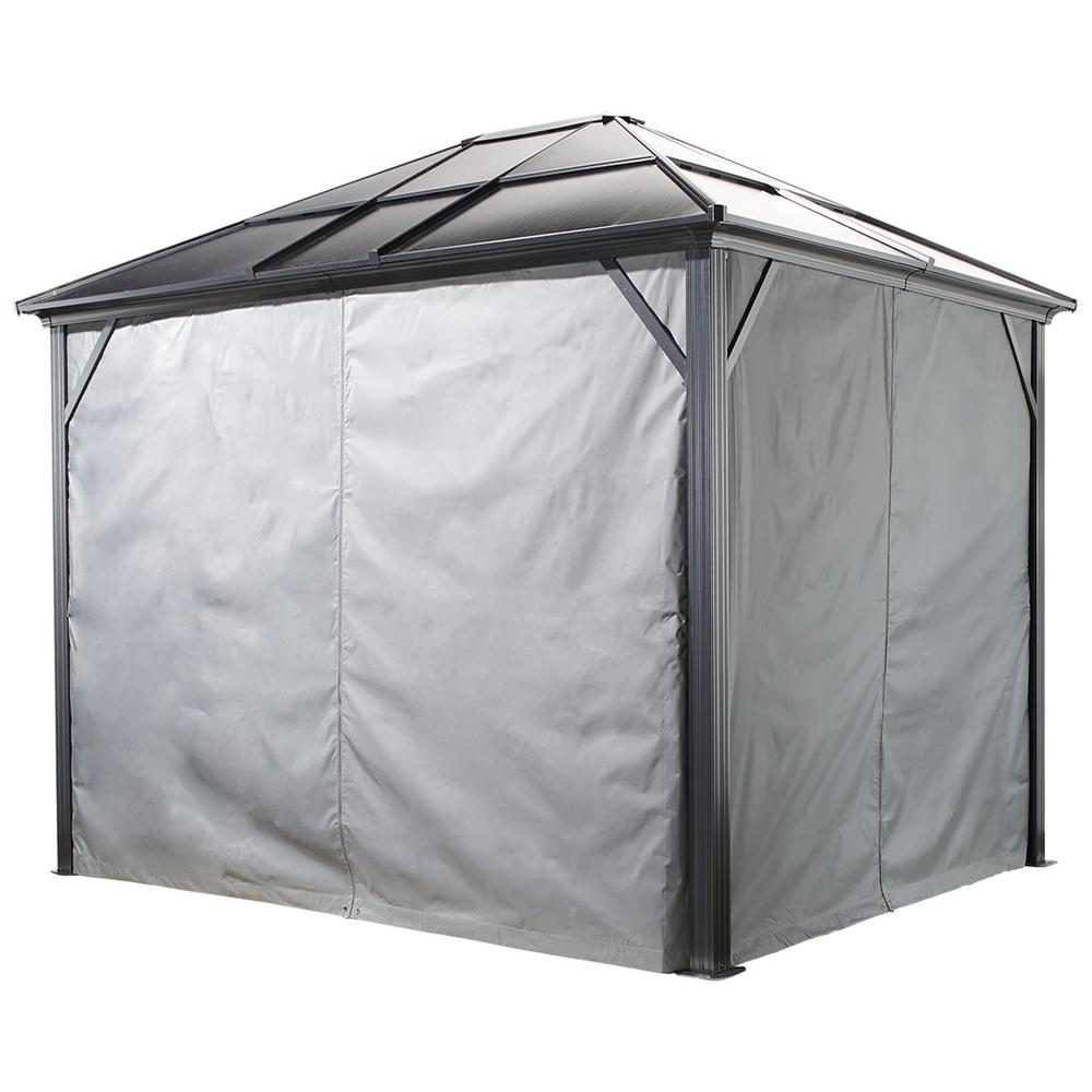 Sojag 12 ft. W x 12 ft. H Curtains (set of 4) for Meridien Sun Shelter in Grey with Zippers and Hooks (Gazebo Not Included)