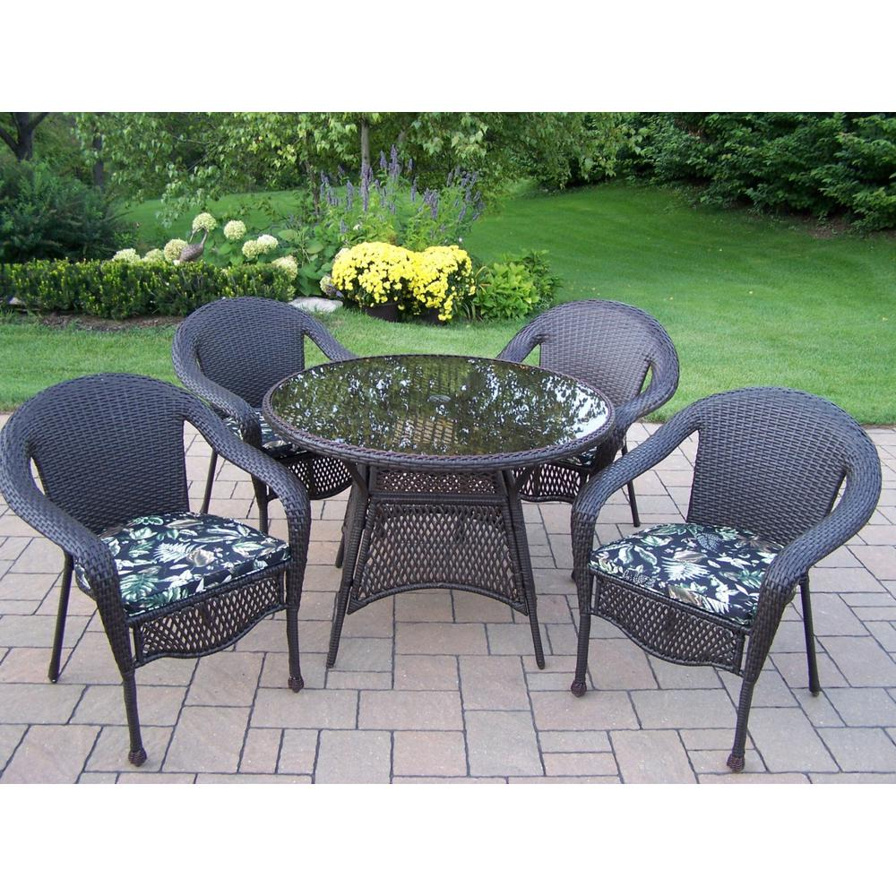 Elite 5-Piece Wicker Outdoor Dining Set with Black Floral Cushions