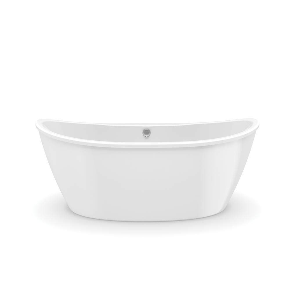 Delsia 66 in. Fiberglass Center Drain Non-Whirlpool Flatbottom Freestanding Bathtub in White