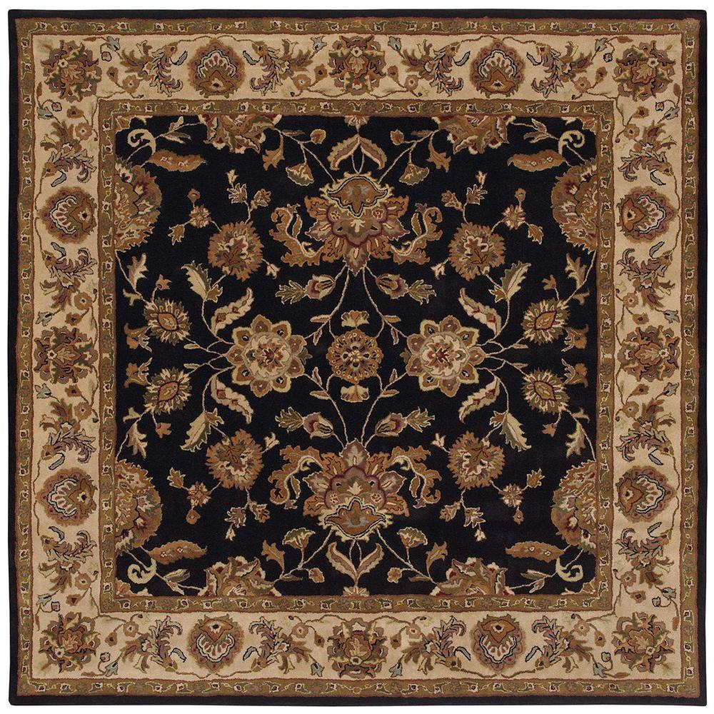 LR Resources Shapes Black/Ivory 9 ft. x 9 ft. Traditional Indoor Square Area Rug