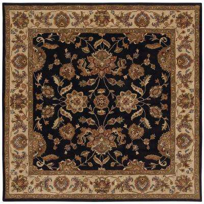 Shapes Black/Ivory 9 ft. x 9 ft. Traditional Indoor Square Area Rug