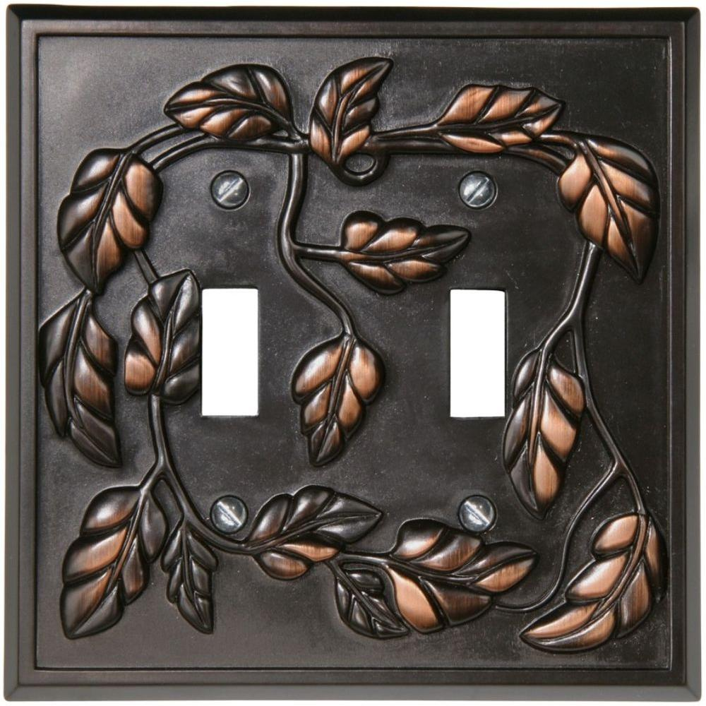Amerelle Leaf 2 Toggle Wall Plate  Aged Bronze