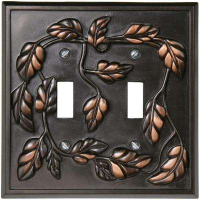 Leaf 2 Toggle Wall Plate - Aged Bronze