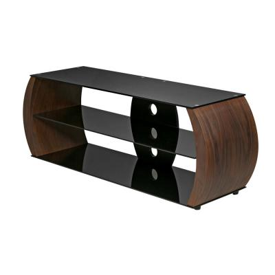 Oval Walnut Veneer Wood TV Stand with Black Tempered Glass