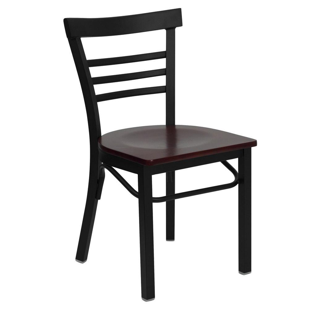 Hercules Series Black Ladder Back Metal Restaurant Chair with Mahogany Wood Seat