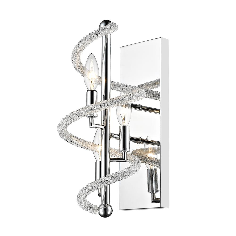 Filament Design Hartley 3-Light Chrome Wall Sconce with Clear and Chrome Crystal and Steel Shade