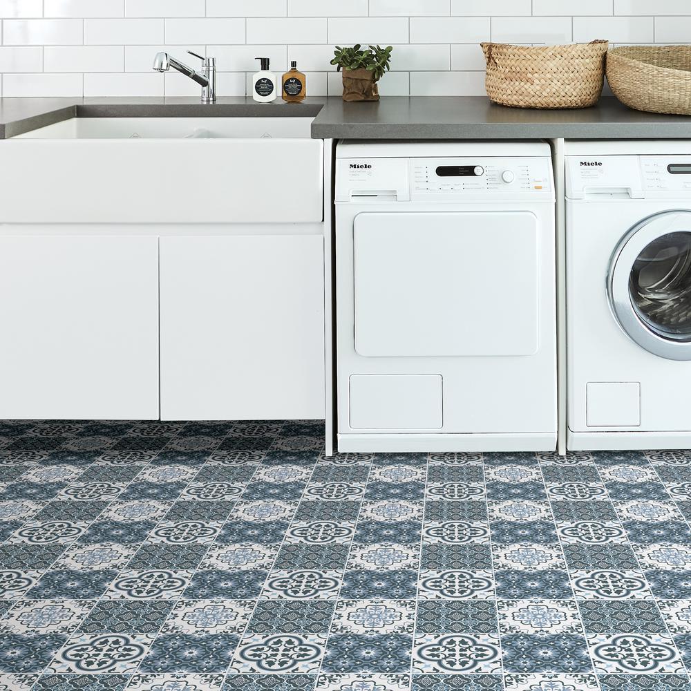 Floorpops Myriad Peel And Stick Floor Tiles 12 In X 12 In 20 Tiles 20 Sq Ft Tfp2951 The Home Depot