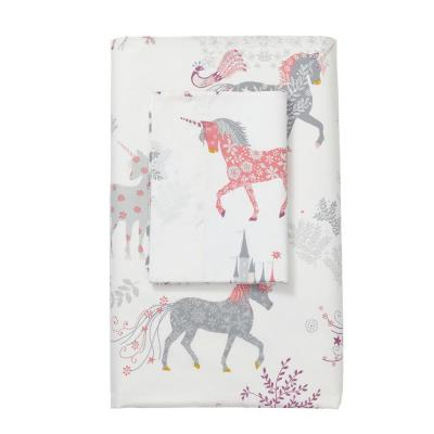 Enchanted Unicorn 200-Thread Count Cotton Percale Flat Sheet