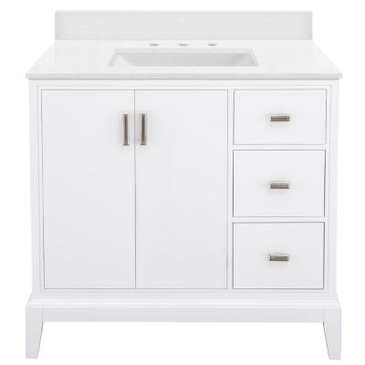 Shaelyn 37 in. W x 22 in. D Bath Vanity in White RH with Engineered Marble Vanity Top in Snowstorm with White Sink