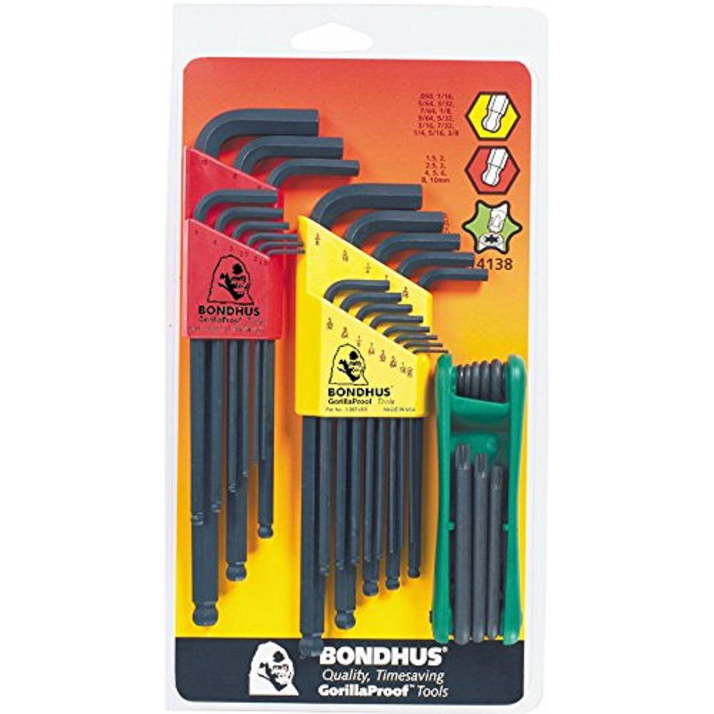 Bondhus Standard and Metric Ball End L-Wrench Sets and TORX Fold Up Tool (30-Piece)