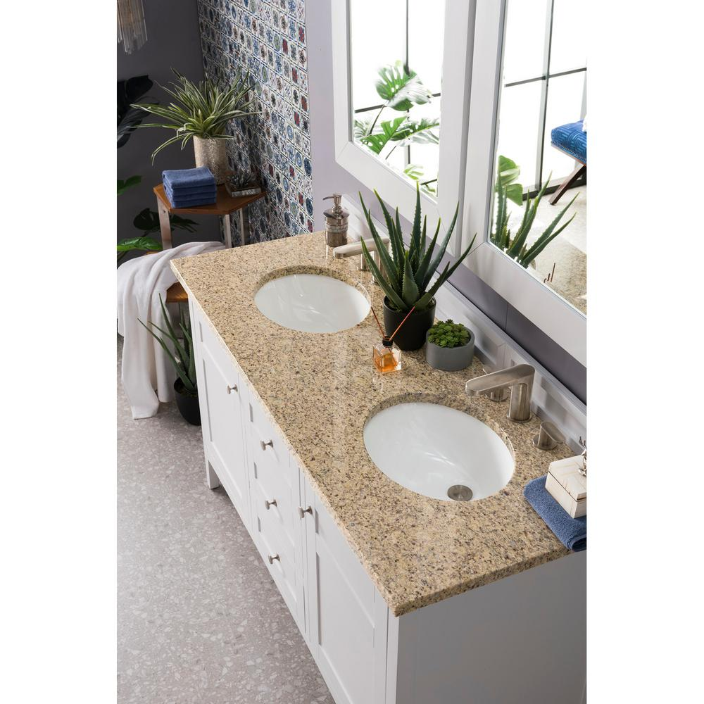 Palisades 60 in. Double Bath Vanity in Bright White with Granite Vanity Top in Santa Cecilia with White Basin
