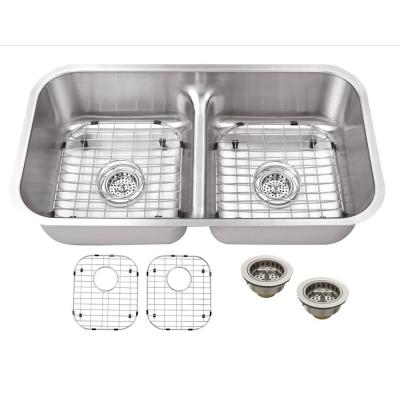 Undermount 18-Gauge Stainless Steel 32 in. 50/50 Double Bowl Kitchen Sink with Low Divider, Grids and Drains