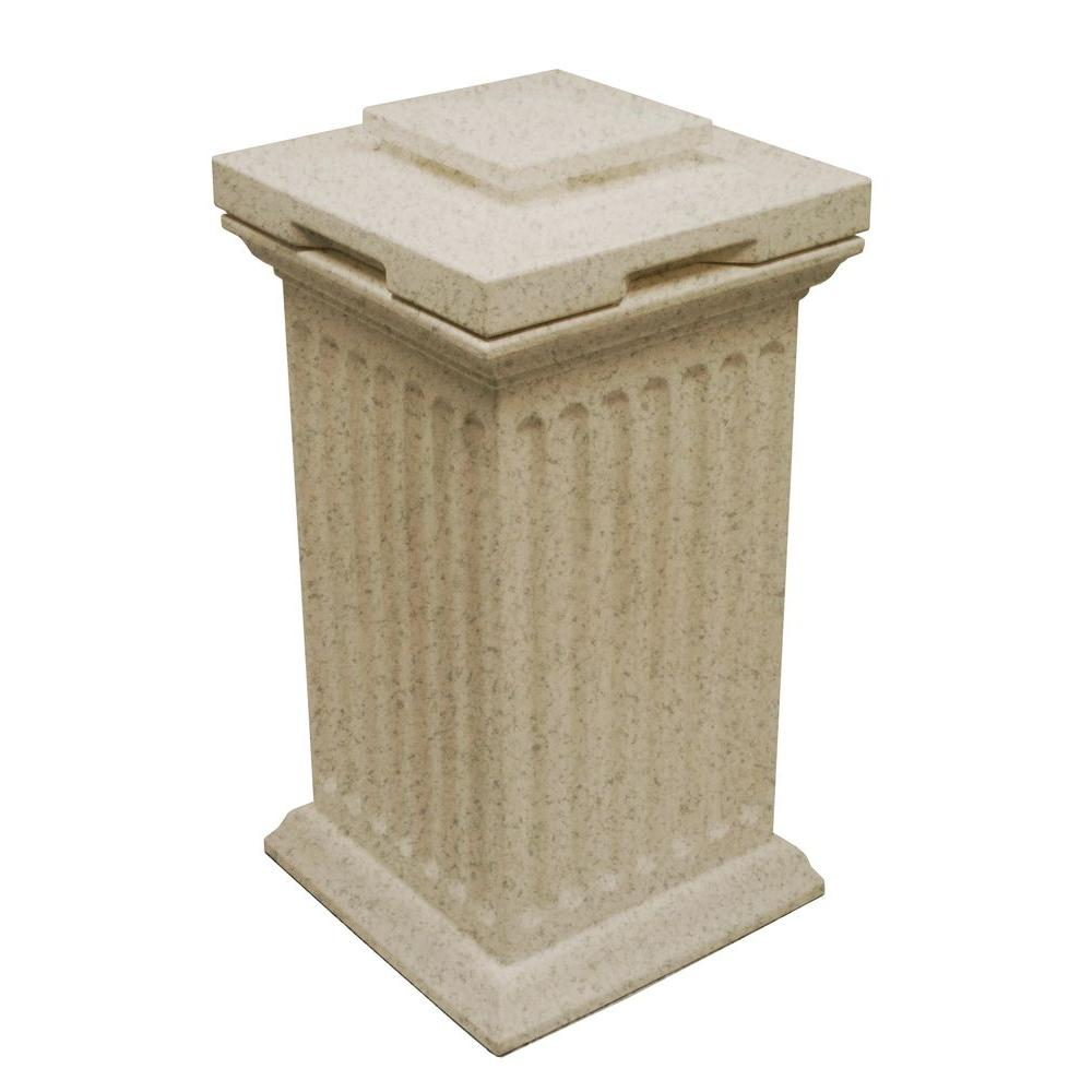 null Savannah 16 in. x 16 in. x 38 in. Polyethylene Column Waste and Storage Bin in Sandstone